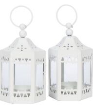 Set Of 2 Small Mini White Table Tea Light Candle Lanterns, Moroccan Style