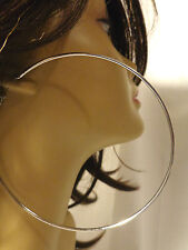 EXTRA LARGE 6 INCH HOOP EARRINGS SIMPLE THIN HOOPS JUMBO SILVER OR GOLD TONE