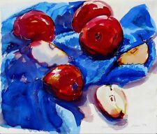 """Impresionante doranne Alden Original Acuarela """"las manzanas en azul"""" de pintura"""