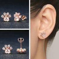 Lovely Shiny Pink Stud Earrings cat Dog Paw Print Earring Piercing Jewelry Gift