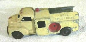 "Rare Old Vintage Original Hubley Bell Telephone Truck 8 1/4"" Long 1940/50's"