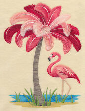 FLAMINGO PALM TREE BEAUTY SET OF 2 HAND TOWELS EMBROIDERED by laura