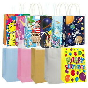 Party Bags Kraft Paper Gift Bag Twisted Handles Recyclable Loot - Choose Design