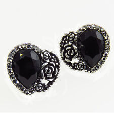 Heart Love Floral Vintage Design Stud Pierced Earrings Repro Jewel Black Crystal