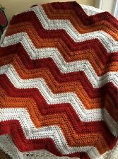 CROCHET handmade baby blanket afghan chevron ripple VANNA yarn rust beige FALL