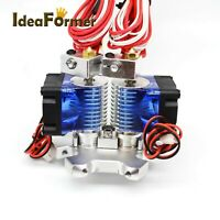 3D Printer V6 Hot End Dual Print Head Extruder+Brass Nozzle for 1.75mm Filament.