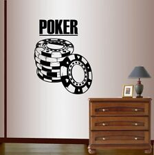 Vinyl Decal  Poker Sign Chips Cards Suits Casino Gambling Wall Art Sticker 850