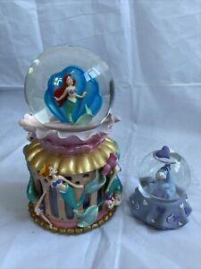 Little Mermaid And Winnie The Poo Disney snow globe rare Bundle