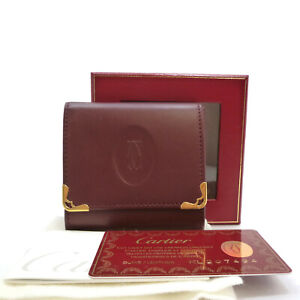 Authentic Cartier Must De Coin Purse Bordeaux Leather #S305032