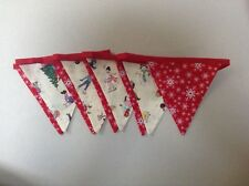 Belle & Boo Christmas Winter scene snowflake red double sided fabric bunting
