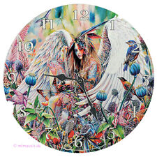 Wanduhr Bilderuhr Uhr Deko - Sanctuary - Engel Fee Elfe bewacht das Heiligtum