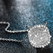 18k white gold gf SIMULATED DIAMOND button pendant necklace elegant