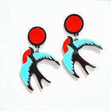 Orecchini`Orecchie A perno Uccello Volant Multicolore Rosso Blu Nero Retrò BB12