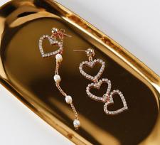 Long Tassel Dangle Drop Earrings Gift Women Gold Plated Love Heart Crystal Pearl