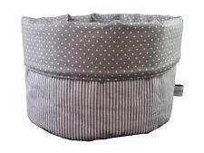 Stoffkörbchen Streifen Punkte grau weiß - Brotkorb Utensilo - bettina bruder®
