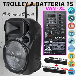 CASSA PORTATILE Ricaricabile TROLLEY AMPLIFICATA 1000Watt BLUETOOTH RADIO USB XL
