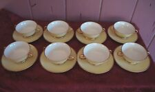 LOVELY CAROLE STUPELL SOUP/ SAUCER SET: SET OF 8 YELLOW WITH GOLD TRIM