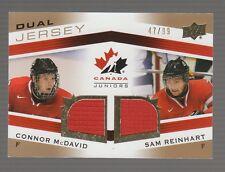 (55211) 2014-15 UD TEAM CANADA JUNIORS GOLD DUAL JERSEY C. McDAVID / S. REINHART