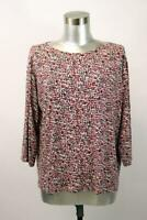 J JILL Wearever Collection Red Pink Printed Tee Shirt Top 3/4 Sleeve L PETITE PL