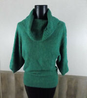 Blue Sky Women's Sz S Emerald Green Cowl Neck 3/4 Sleeve SOFT Plush Sweater NWT