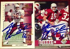 Jake Plummer former Arizona Cardinals NFL QB auto autograph football card LOT X2