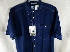Mens Blue Shirt Linen Blend Button Up Retro 80 90 s Vintage Sz M Creative Edge
