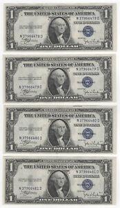 4 Piece Consecutive Lot - $1 1935-C Silver Certificates Fr#1612