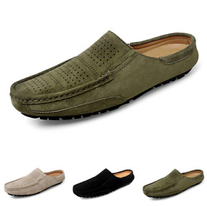 Mens Faux Leather Loafers Slippers Shoes Round Toe Hollow out Breathable Flats L