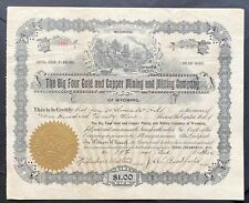 BIG FOUR GOLD & COPPER MINING SMELTING Stock 1904 Grand Encampment Carbon Co, WY