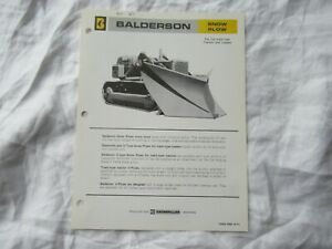 Balderson snow plow specification sheet brochure for Caterpillar track tractors