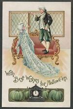 c.1908 BEST WISHES FOR HALLOWEEN Colonial Couple, Green Pumpkins German Postcard