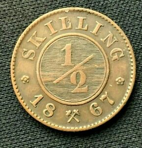 1867 Norway 1/2 Skilling Coin XF   ( 1 year issue )    Copper     #C630