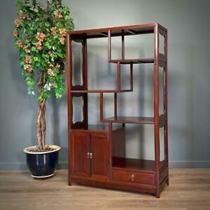 Attractive Large Oriental Cherrywood Whatnot Room Divider Display Shelves