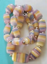 Exquisite Vintage Layered Lucite Striped Rainbow Necklace Graduated Statement