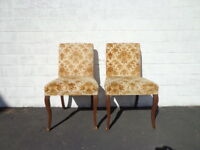 Pair of Chairs Set Dining Chair Seating Vintage Floral Regency Country French