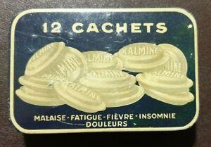 Ancienne boite métal à médicaments, PUB 12 cachets Kalmine métadier, 6 x 9 cm