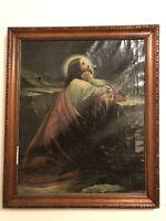 Jesus Christ Garden of Gethsemane Antique Portrait Painting 1800's