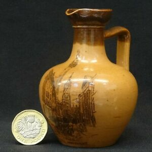 Antique DOULTON Lambeth Stoneware MINIATURE Whisky Flask MONUMENT Print c1870s