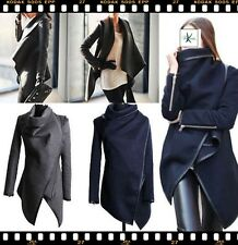 Damen Jacke Mantel Schwarz Elegante Design Wickel Poncho Parkas Coats Trend 2017