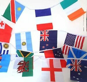 """Rugby World Cup Bunting 6m 20 flags Small Fabric Flag 9""""x6"""" International Teams"""