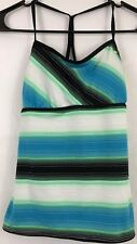 Nike Women's Tank Top Size Medium/10 Striped Blue White Green Drawstring W/ Bra