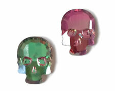 Watermelon Tourmaline Faceted Skull Chinese Crystal Glass Cabochon 10x7.5mm Q15