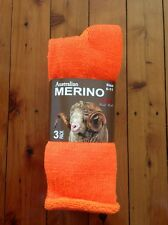 3 PAIRS HEAVY DUTY AUSTRALIAN MERINO EXTRA THICK WOOL WORK SOCKS -ORANGE - 6-11
