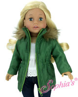 "Doll Clothes 18"" Jacket Olive Green Nylon Sophia's Fits American Girl Dolls"