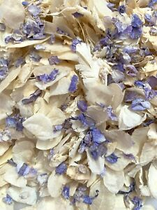 Blue Delphinium Ivory Dried Biodegradable Wedding Confetti. Real Flower Petals