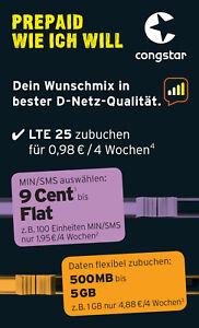 Congstar Prepaid wie ich will Handy SIM Karte 10 € Guthaben T-Mobile D1Netz Xtra