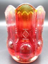 Vintage Boyd Glass ~ AMBERINA / RUBINA BEADED OVAL TOOTHPICK HOLDER ~ Excellent