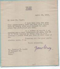 Zane Grey - western novel writer- sends an amusing letter on signing photos