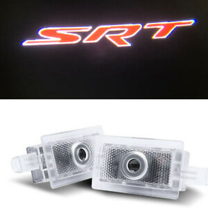 2x Red SRT Logo LED Door Ghost Projector Puddle Lights For Chrysler 300 2005-19