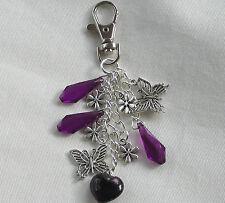 Handmade Gift Idea - Purple & Silver Flower Butterfly Bead Handbag Keyring Charm